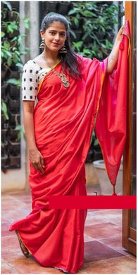 Designer Red Chanderi Fancy Border Digital Printed Saree With Blouse