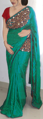 Designer Paper Silk Mirror + Embroidery Work Saree With Blouse