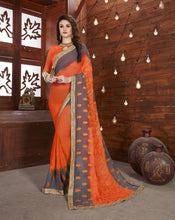 Orange Chiffon Embrodaried Saree