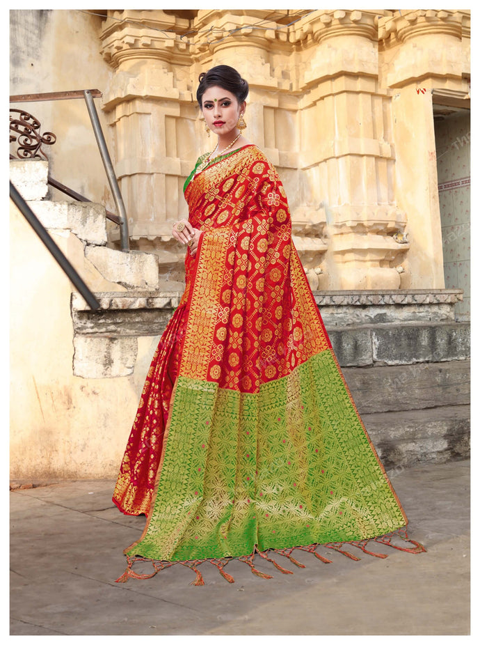 Red & Green Banarasi Silk Jacquard Zari Work Saree