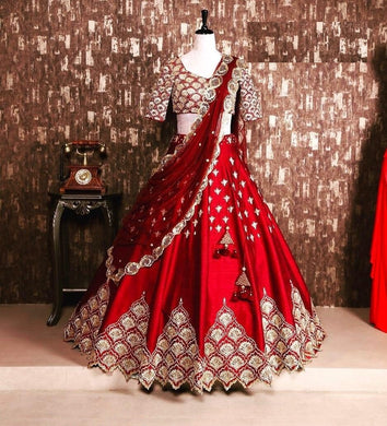 Red Color Banglori Satin Silk Embroidary Work Deisgner Lengha Choli