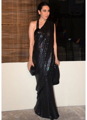 Full Sequence Work Bollywood Star Karina Kapoor Georgette Black Color Saree