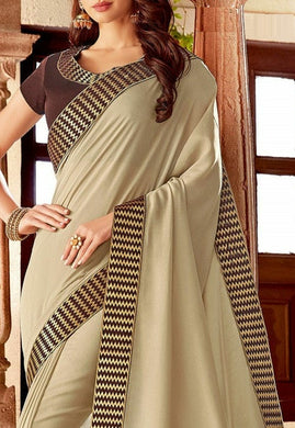Awesome Cream Color Rangoli Silk Embroidary Work Lace Border Saree