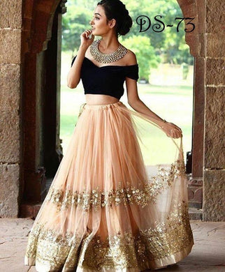 Awesome Peach Black Color Designer Seqence Work Lengha Choli