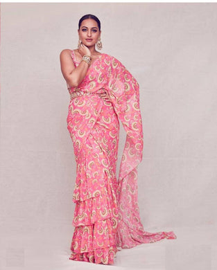 Sonakshi Sinha Digital Printed Georgette Pink Color Ruffle Saree