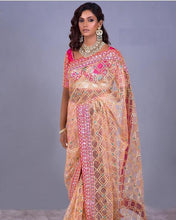 Peach Color Dimond Tissu Material Embrodary Chain Stiched Work Saree