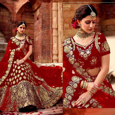 Red Color Pure Velvet Full Embroidray Work Deisgner Lengha Choli