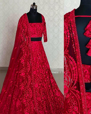 Red Color Sequence Work Tissue Net Material Designer Lengha Choli