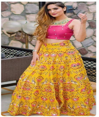 Yellow Color Original Mirror Work Taffeta Silk Embroidary Work Designer Lengha Choli