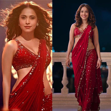 Bollywood Star Red Color Full Sequence Work Deisgner Saree