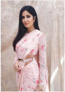 Bollywood White-pink Color Floral Printed Georgette Saree