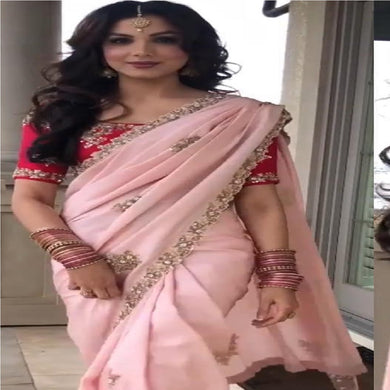 Baby Pink Color Heavy Georgette Saree With Full Embroidary Work
