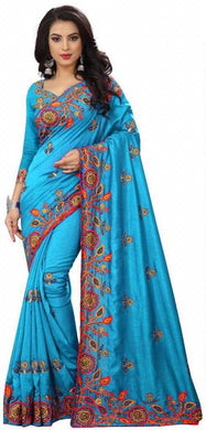 Awesome Designer Vichitra Silk Embroidery Work Saree With Blouse