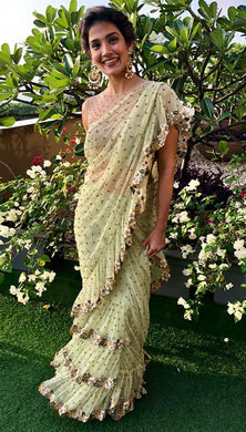 Pista Green Color Net Material Sequence Work Ruffle Style Saree