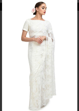 Awesome White Color Heavy Chantley Net Material Designer Saree