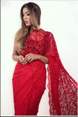 Awesome Red Color Heavy Chantley Net Material Designer Saree