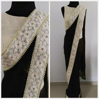 Black Color Georgette Material Embroidary Sequence Work Lace Border Saree