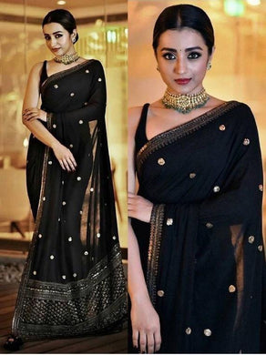 Bollywood Black Color Full Sequence Work Georgette Material Sareee