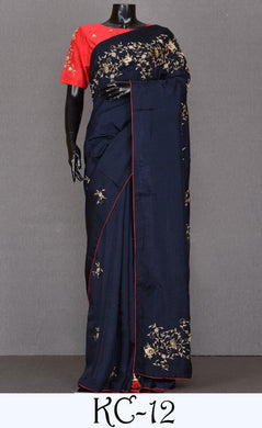 Awesome Blue Color Vichitra Silk Embroidary Work Designer Saree