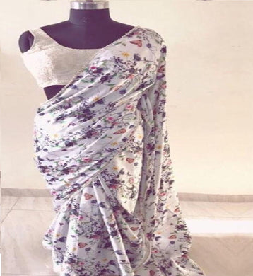 Awesome Digital Printed White Color Georgtte Saree With Moti Work Lace Border