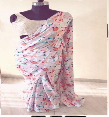 Awesome Digital Printed White Color Georgette Saree With Moti Work Lace Border
