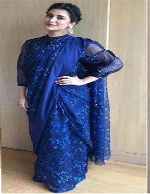 Awesome Bollywood Sruti Hasan Blue Color Georgette Printed Saree