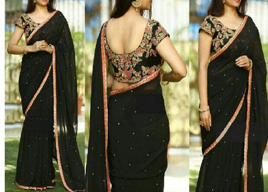 Black Color Marble Silk Saree With Sequenve+coding Work Border
