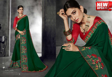 Awesome Green Color Vichitra Silk Embroidary Work Designer Saree