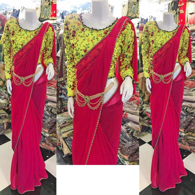 Awesome Rani Pink Color Georgette Saree With Pearl Work Lace Border