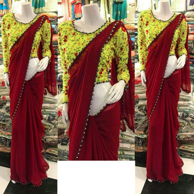 Awesome Maroon Color Georgette Pearl Work Lace Border Saree
