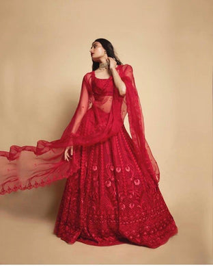 Red Color Georgette Material Deisgner Embroidary Wok Lengha Choli