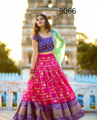 Pink Color Designer Printed+embroidary Work Lengha Choli