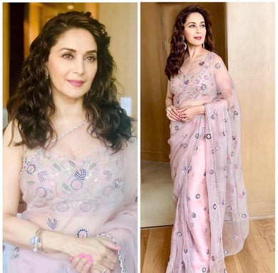 Madhuri Dixit Pink Color Embroidary Work Designer Georgette Saree