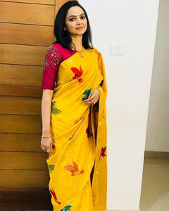 abf74742208281 Yellow Color Chanderi Silk Saree With Designer Embroidary Work