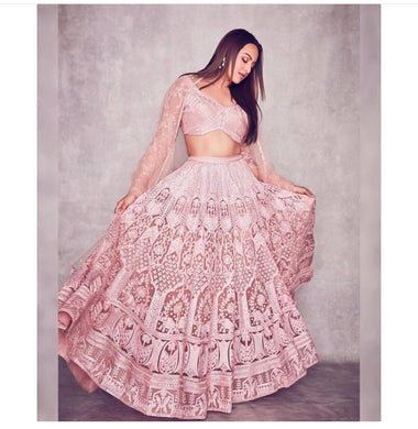 Sonakshi Sinha Bollywood Peach Color Net Material Designer Lengha Choli
