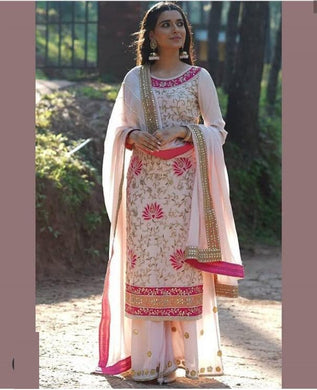 Baby Pink Color Georgtte Material Full Embroidary Work Suit