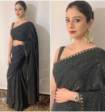 Black Color Georgette Material Embroidary Work Designer Saree
