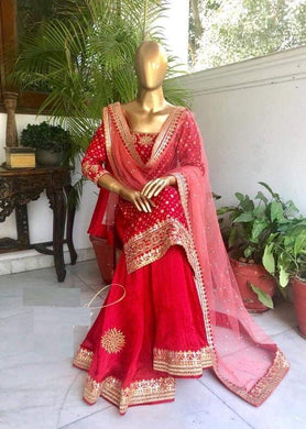 Awesome Red Color Georgette Material Embroidary Work Plazo Suit