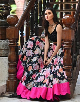 Floral Printed Heavy Butter Silk Black Color Deisgner Lengha Choli