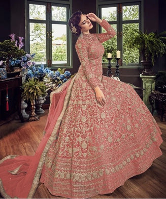 Peach Color Net Material Sequence + Coding+stone Work Anarkali Suit