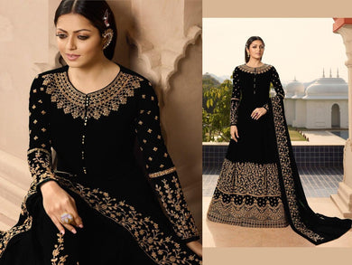 Black Color Georgette Material Embroidary Coding Work Designer Gown