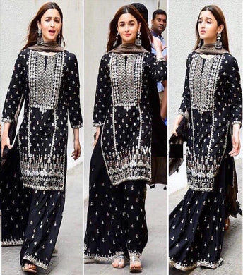 Black Color Full Embroidary Work Deisgner Georgette Plazo Suit