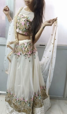 Off White Color Pretty Net(semi-stitch) With Cancan Net Lehenga