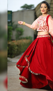 Red Color Awesome Velvet With Cancan Net Lehenga