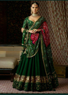 Dark Green Color Pretty Lehenga