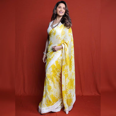 Yellow White Color Bollywood Style Saree