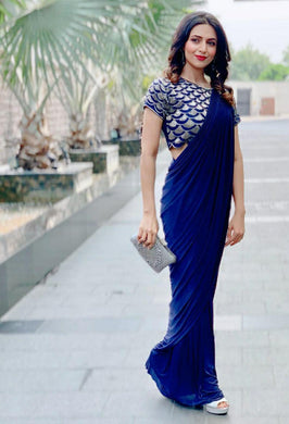 Royal Blue Color Designer Georgette Saree