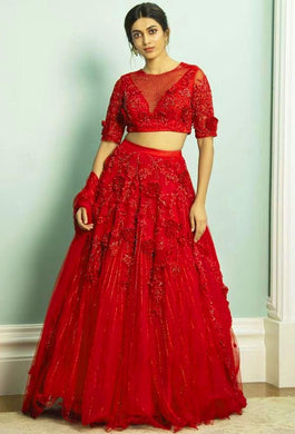 Red Color Embroidery Work And Patch Flowers Work Net Lehenga