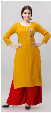 Yellow Color Designer Pure Rayon Cotton With Stylist Zardosi Hand Work Kurti Plazzo