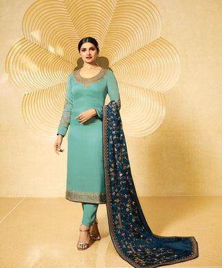 Sky Blue Color Pretty Satin Georgette With Embroidery Work Salwar